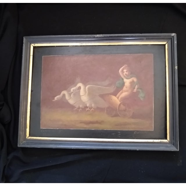 Late 19th Century Antique Goose Cart and Putti Child Italian Oil Painting For Sale - Image 10 of 10