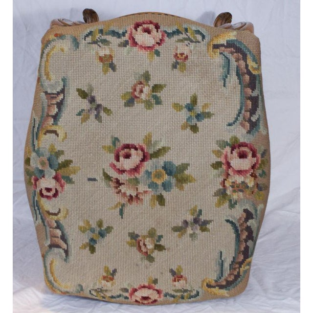 Louis XV Style stool/bench with older needlepoint circa 1900 Condition: Good antique condition with some shrinkage and...