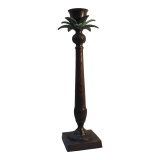 1970s Brass Palm Tree Candle Holder For Sale