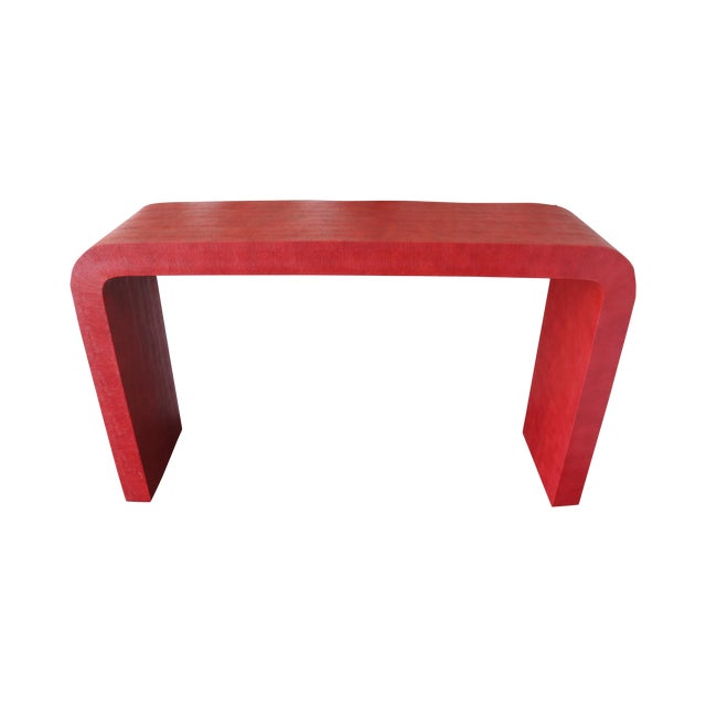 Karl Springer Style Faux Shagreen Console Table - Image 1 of 6
