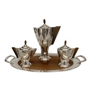 4 Piece English Art Deco Silver Tea Set