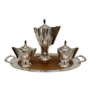 English Art Deco Silver Tea Set- 4 Piece For Sale