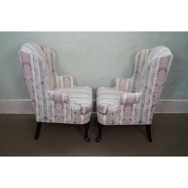 Country Thomasville Traditional Queen Anne Wing Chairs - 2 For Sale - Image 3 of 10