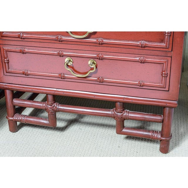 1970s Vintage Ficks Reed Faux Bamboo Chinese Red Nightstands-A Pair For Sale - Image 5 of 12