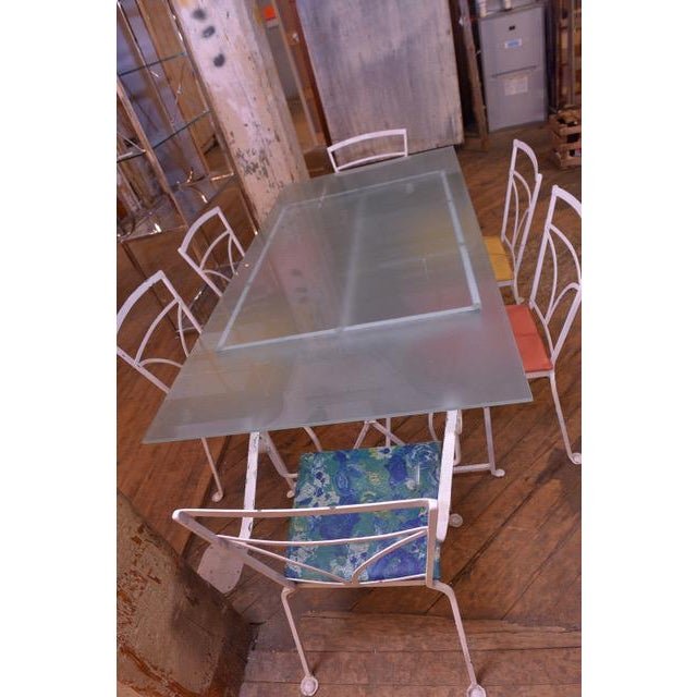 Mid-Century Modern Vintage MCM Salterini Style Seasonal Outdoor Glass Top Table Dining Set - 7 Pieces For Sale - Image 3 of 11