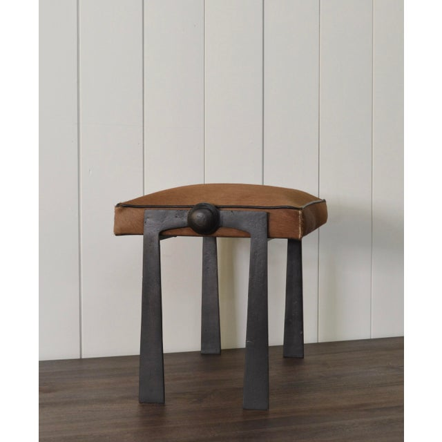 1990s Modernist Iron and Leather Hair on Hide Stool For Sale - Image 5 of 8