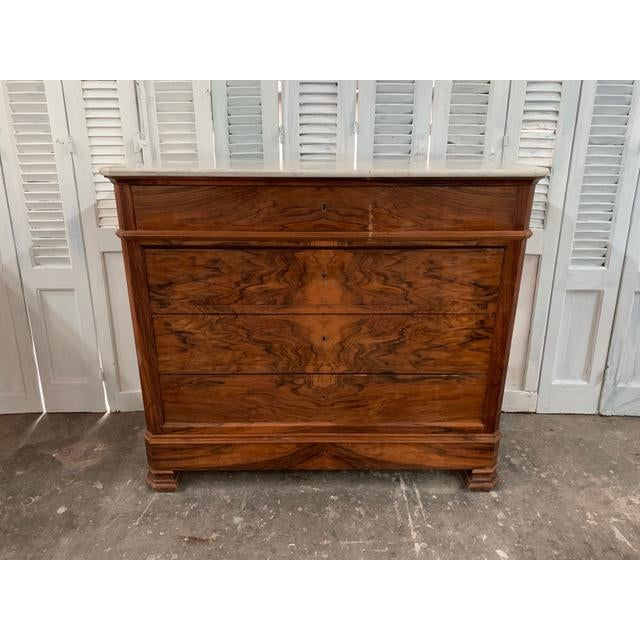 19th Century French Louis Philippe Bookmatched Commode With Marble Top For Sale - Image 12 of 12