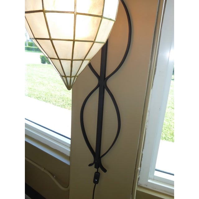 1960s Mid Century Moderm Capiz Shell and Wrough Iron Sconce Wall Light, N1960s For Sale - Image 5 of 13
