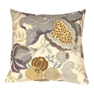 Pillow Decor Harvest Floral Blue 20x20 Pillow For Sale