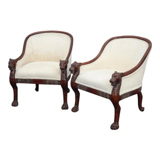 Pair of Vintage French Off White Club Chairs With Tiger Armrests & Claw Feet For Sale