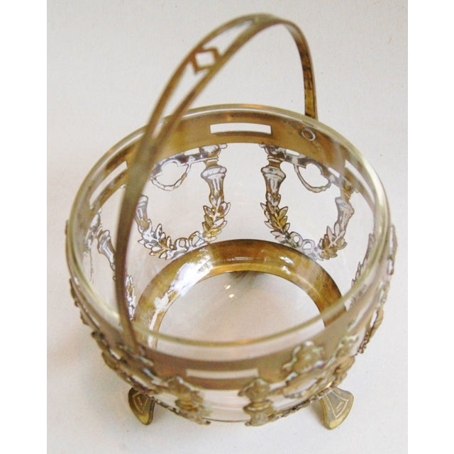 Antique Brass Filigree & Crystal Basket - Image 8 of 10