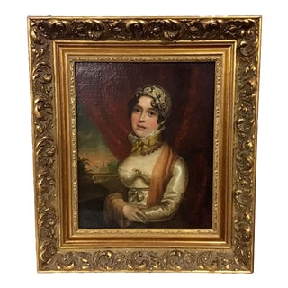 19th Century Oil Portrait of a Lady For Sale