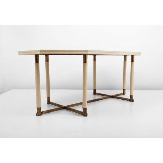 Hollywood Regency Maison Jansen Octagonal Leather Dining Table For Sale - Image 3 of 6