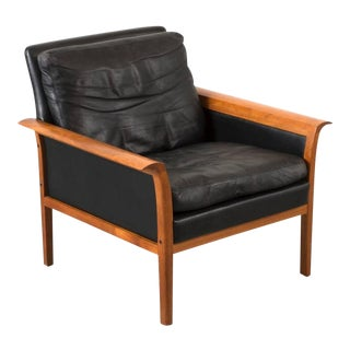 Hans Olsen Teak and Leather Lounge Chair For Sale