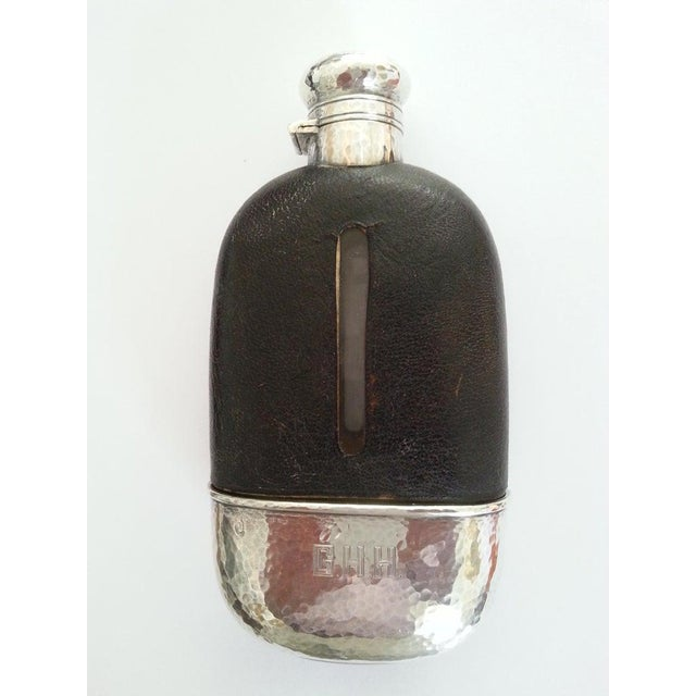 Metal 1920s English Art Deco Hip Flask in Sterling Silver, Gold Wash, Leather & Hand Blown Glass For Sale - Image 7 of 13