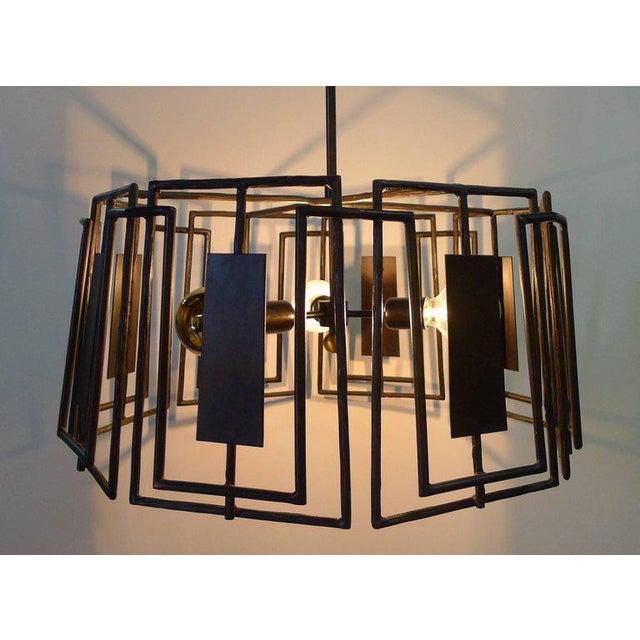 Contemporary Trellis Chandelier Faux Bois Iron by Paul Marra For Sale - Image 3 of 10