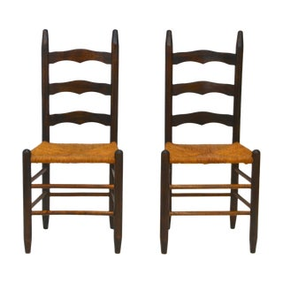 19th Century Ladder Back Side Chairs - a Pair For Sale