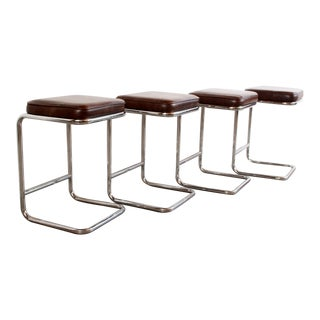 Mid Century Modern Chrome Counter Height Bar Stools - Set of 4 For Sale