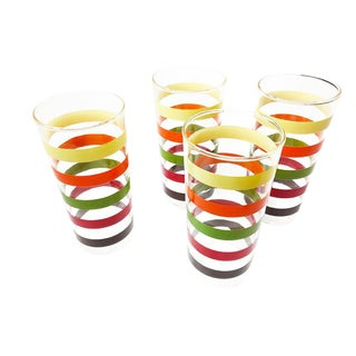 Vintage Retro High Ball Glasses With Colorful Stripes - Set of 4