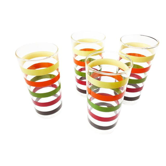 Vintage Retro High Ball Glasses With Colorful Stripes - Set of 4 For Sale