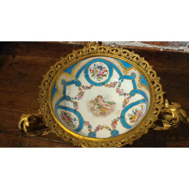 19th century Beautiful French Sevre Porcelain & Gilt Bronze Center piece For Sale - Image 4 of 10