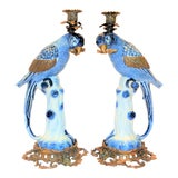 "Image of 1980s Blue and White Porcelain Ormolo Parrot 18"" Candlesticks - a Pair For Sale"