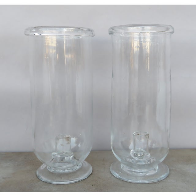 Vintage Tall Hurricane Candle Holders - a Pair For Sale In Los Angeles - Image 6 of 6