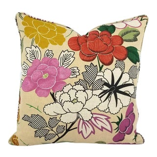 Manuel Canovas Misia Linen Printed Self-Welt Pillow Cover For Sale