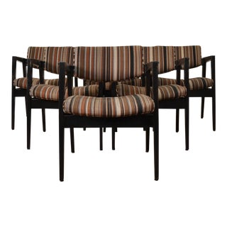 Jens Risom Style Gunlocke Arm Chairs - Set of 6 For Sale