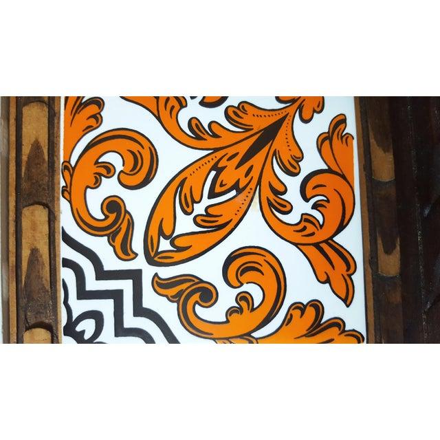 Serving Tray Wood & Tile Hand Carved Wooden Trivet Hot Pad Vintage Kitchen Barware For Sale - Image 4 of 7