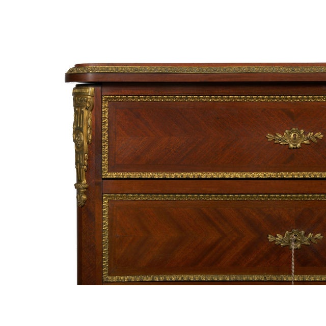 Brown 19th Century French Antique Dressing Table Commode Chest of Drawers For Sale - Image 8 of 13