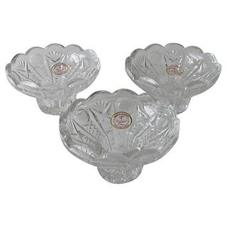 European Lead Crystal Candleholders - Set of 3 For Sale