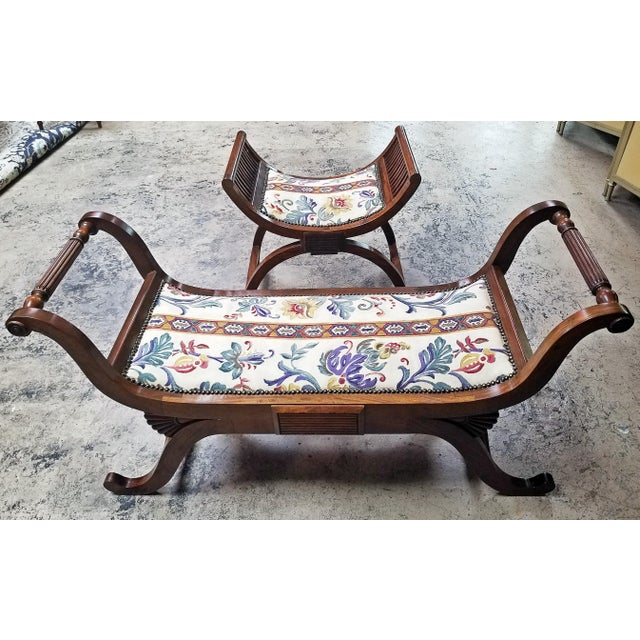 Empire Style Bedroom Scroll End Bench Seats- A Pair For Sale In Dallas - Image 6 of 13