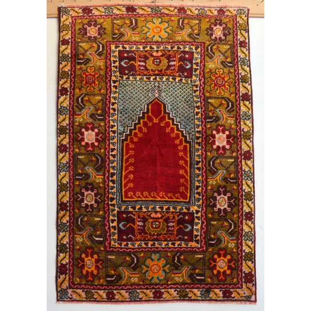 """Antique Turkish Rug Hand Knotted Prayer Rug - 3'4"""" X 5' For Sale - Image 12 of 12"""