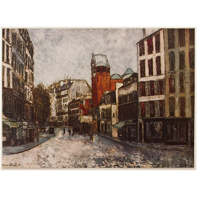 A lovely vintage lithograph after Rue Des Abbesses painting by French artist Maurice Utrillo (1883-1955) depicting another...