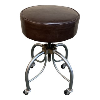 Brown Leather Swivel Stool For Sale