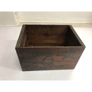 Vintage Industrial Wood Shipping Crate Box - Benjamin Franklin Sugar Preview
