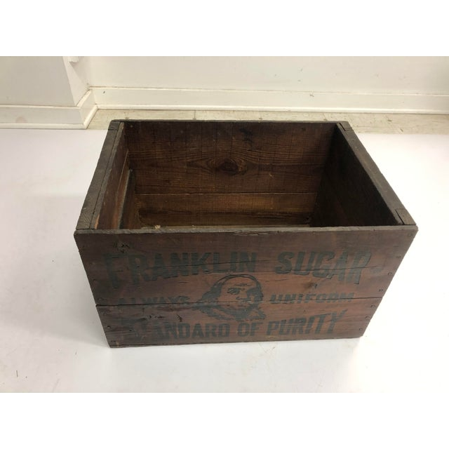 "Vintage Wood Crate. ""Ben Franklin Sugar - Always Uniform - Standard of Purity. Beautiful natural wood. Strong print on all..."