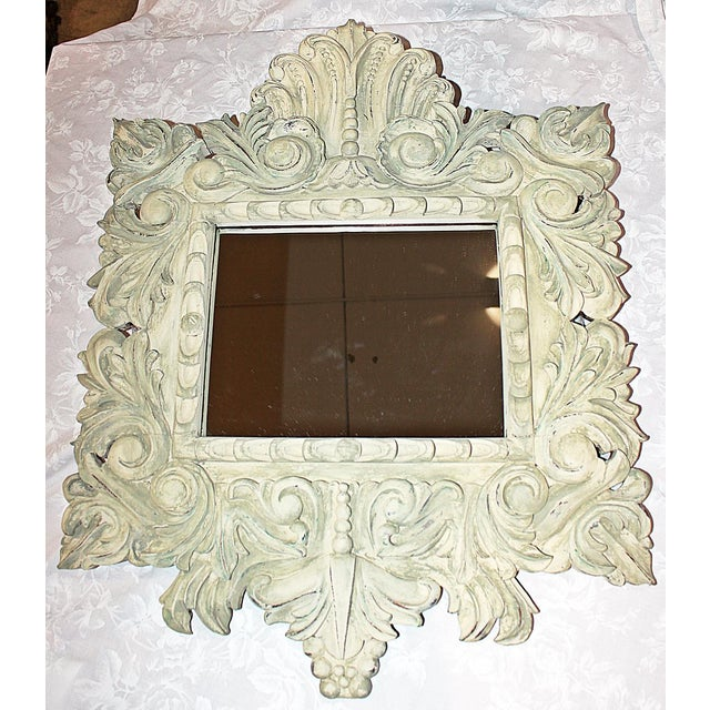Liven up your wall with this extensively hand-carved solid mahogany wall mirror freshly painted in Annie Sloan Versailles...