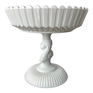 """Late 19th Century Challinor Taylor """"Jenny Lind"""" White Milk Glass Compote For Sale"""