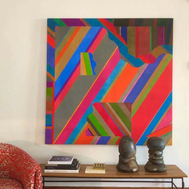 Large 1970s Graphic Hardedge Geometric Painting by Roland Ginzel For Sale - Image 12 of 12