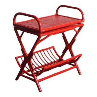 1960s Red Bamboo Server Bar Stand with Swivel Top For Sale