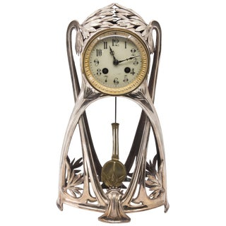 Silver Plated French Art Nouveau Tall Mantle Clock For Sale