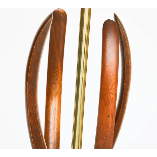 Pair Mid Century Sculptural Teak Wood Lamps - Image 7 of 9