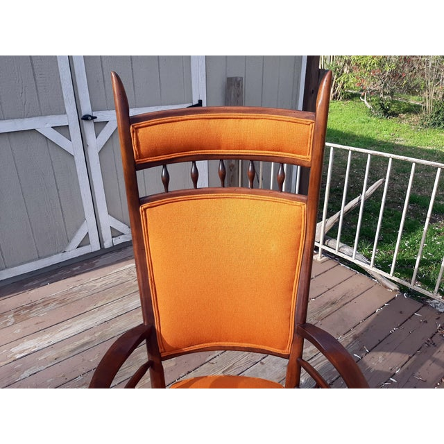 Orange Vintage Mid Century Modern Maxwell Royal for Dunbar High Back Armchair Original Fabric For Sale - Image 8 of 13