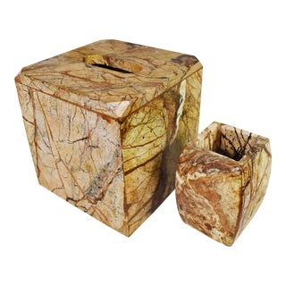 Natural Stone Tissue Box Cover and Toothbrush Holder - A Pair For Sale