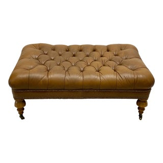 Vintage Ralph Lauren Leather Chesterfield Ottoman For Sale
