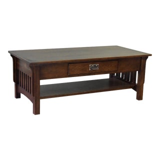Crafters and Weavers Mission Crofter Style 1 Drawer Coffee Table - Walnut Stain For Sale