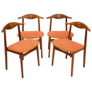 Rare Set of Four Teak Cowhorn Style Dining Chairs by Randers Stolefabrik For Sale