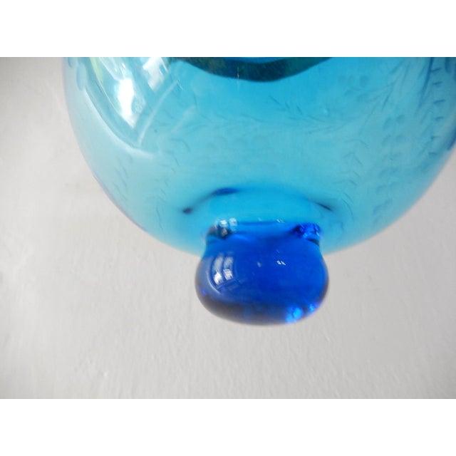 19th Century Cobalt Blue English Bell Jar Lantern Chandelier For Sale - Image 12 of 13
